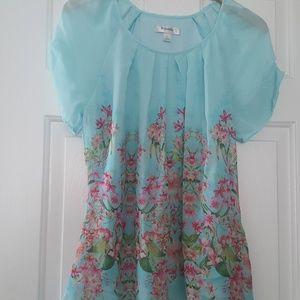 Dressbarn Blue Floral Blouse